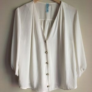 Tops - White V-Neck Blouse